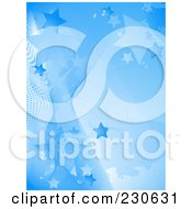 Royalty Free RF Clipart Illustration Of A Blue Star Halftone And Wave Background by elaineitalia