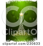Royalty Free RF Clipart Illustration Of A Magical Gold Christmas Tree Over Green With Suspended Ornaments And White Grunge Borders