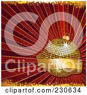 Royalty Free RF Clipart Illustration Of A Christmas Background Of A Golden Mosaic Bauble With A Blank Banner Over Red Rays Wth Gold Grunge
