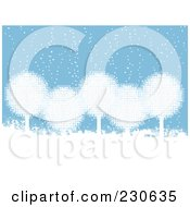 Royalty Free RF Clipart Illustration Of A Background Of White Snowball Trees In The Snow Over Blue by elaineitalia