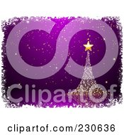 Royalty Free RF Clipart Illustration Of A Magical Gold Christmas Tree Over Purple White Grunge Borders