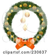 Royalty Free RF Clipart Illustration Of A Christmas Wreath With A Bow And Gold Stars And Ornaments by elaineitalia