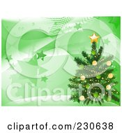 Royalty Free RF Clipart Illustration Of A Christmas Tree Over A Magical Wave Star And Halftone Background by elaineitalia