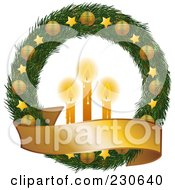 Royalty Free RF Clipart Illustration Of A Christmas Wreath With Golden Stars And Ornaments A Blank Banner And Glowing Candles by elaineitalia