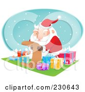 Royalty Free RF Clipart Illustration Of Santa Sitting By Gifts And Reading A List Over A Snowy Oval
