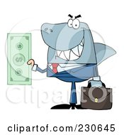 Royalty Free RF Clipart Illustration Of A Shark Businessman Holding A Dollar Bill by Hit Toon