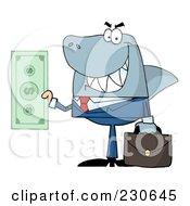 Royalty Free RF Clipart Illustration Of A Shark Businessman Holding A Dollar Bill