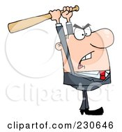 Royalty Free RF Clipart Illustration Of A Caucasian Businessman Holding A Bat Over His Head