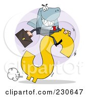 Royalty Free RF Clipart Illustration Of A Shark Business Man Riding On A Hopping Dollar Symbol Over A Purple Circle