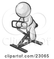 Clipart Illustration Of A White Man Exercising On A Stationary Bicycle