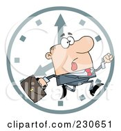Royalty Free RF Clipart Illustration Of A Hurried White Businessman Running Past A Clock