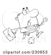 Royalty Free RF Clipart Illustration Of A Coloring Page Outline Of A Late Businessman Running With A Briefcase