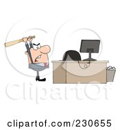 Royalty Free RF Clipart Illustration Of A Caucasian Businessman Holding A Bat Over A Computer