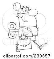 Royalty Free RF Clipart Illustration Of A Coloring Page Outline Of A Windup Businessman Walking With A Briefcase