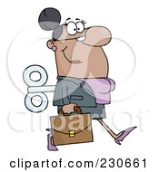Royalty Free RF Clipart Illustration Of A Windup Black Businessman Walking With A Briefcase