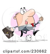 Royalty Free RF Clipart Illustration Of A Late White Businessman Running With A Briefcase Over A Pink Circle