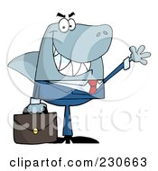 Royalty Free RF Clipart Illustration Of A Shark Businessman Carrying A Briefcase And Waving by Hit Toon