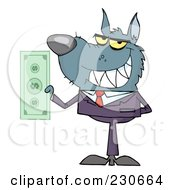Royalty Free RF Clipart Illustration Of A Wolf Businessman Holding Cash