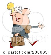 Royalty Free RF Clipart Illustration Of A Caucasian Businesswoman Walking And Holding Her Arm Out by Hit Toon
