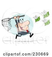 Royalty Free RF Clipart Illustration Of A White Businessman Chasing Flying Money With A Net Over A Blue Circle