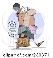 Royalty Free RF Clipart Illustration Of A Windup Hispanic Businessman Walking With A Briefcase Over Purple