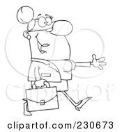 Royalty Free RF Clipart Illustration Of A Coloring Page Outline Of A Businesswoman Walking And Holding Her Arm Out