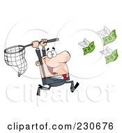 Royalty Free RF Clipart Illustration Of A Caucasian Businessman Chasing Flying Money With A Net