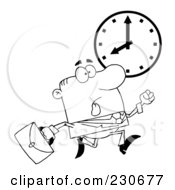 Royalty Free RF Clipart Illustration Of A Coloring Page Outline Of A Hurried Businessman Running Past A Clock
