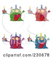 Royalty Free RF Clipart Illustration Of A Digital Collage Of Four Birthday Monsters