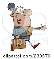 Royalty Free RF Clipart Illustration Of A Black Businesswoman Walking And Holding Her Arm Out