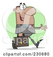 Royalty Free RF Clipart Illustration Of A Hispanic Businessman Walking With His Hand Out Over A Green Circle