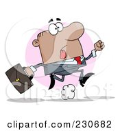 Royalty Free RF Clipart Illustration Of A Late Hispanic Businessman Running With A Briefcase Over A Pink Circle