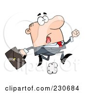 Royalty Free RF Clipart Illustration Of A Late Caucasian Businessman Running With A Briefcase