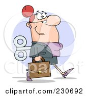 Royalty Free RF Clipart Illustration Of A Windup White Businessman Walking With A Briefcase by Hit Toon