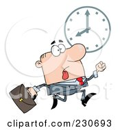 Royalty Free RF Clipart Illustration Of A Hurried Caucasian Businessman Running Past A Clock