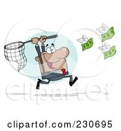 Royalty Free RF Clipart Illustration Of A Hispanic Businessman Chasing Flying Money With A Net