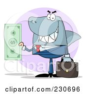 Royalty Free RF Clipart Illustration Of A Shark Businessman Holding Cash Over A Purple Circle