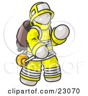 Clipart Illustration Of A White Fireman In A Uniform Fighting A Fire by Leo Blanchette