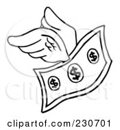 Royalty Free RF Clipart Illustration Of A Coloring Page Outline Of A Flying Dollar Bill