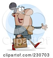 Royalty Free RF Clipart Illustration Of A Hispanic Businesswoman Walking And Holding Her Arm Out Over A Blue Circle
