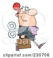 Royalty Free RF Clipart Illustration Of A Windup Caucasian Businessman Walking With A Briefcase by Hit Toon