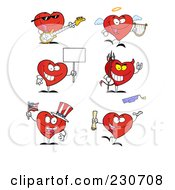 Royalty Free RF Clipart Illustration Of A Digital Collage Of Red Heart Characters 2