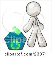 Clipart Illustration Of A White Man Tossing A Plastic Container Into A Recycle Bin Symbolizing Someone Doing Their Part To Help The Environment And To Be Earth Friendly by Leo Blanchette