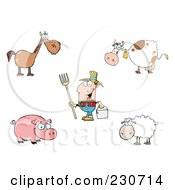 Royalty Free RF Clipart Illustration Of A Digital Collage Of A Farmer And Livestock by Hit Toon