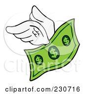 Royalty Free RF Clipart Illustration Of A Flying Dollar Bill