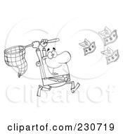 Royalty Free RF Clipart Illustration Of A Coloring Page Outline Of A Businessman Chasing Flying Money With A Net