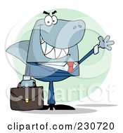 Royalty Free RF Clipart Illustration Of A Shark Businessman Carrying A Briefcase And Waving Over A Green Circle