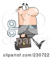 Royalty Free RF Clipart Illustration Of A Windup Caucasian Businessman Walking With A Briefcase