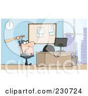Royalty Free RF Clipart Illustration Of A White Businessman Holding A Bat Over A Computer