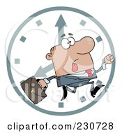 Royalty Free RF Clipart Illustration Of A Hurried Hispanic Businessman Running Past A Clock